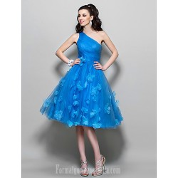 Australia Formal Dresses Cocktail Dress Party Dress Prom Dress Ocean Blue Plus Sizes Dresses Petite A Line Sexy One Shoulder Short Knee Length Tulle